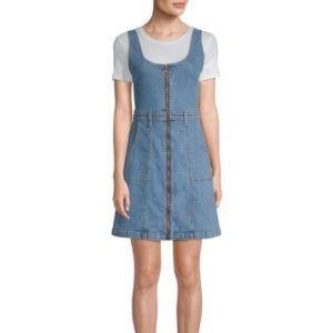 7 For All Mankind Zip-Front Denim Mini Dress
